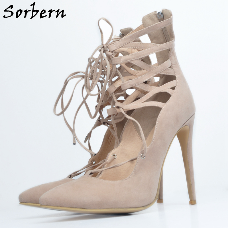 Sorbern Khaki Pointed Toe Lace-Up Hollow Out Women Pumps High Heels Women Cute Shoes 2017 Runway European Style Small Size 34-47 features women jewelry european style hollow out ring size 8