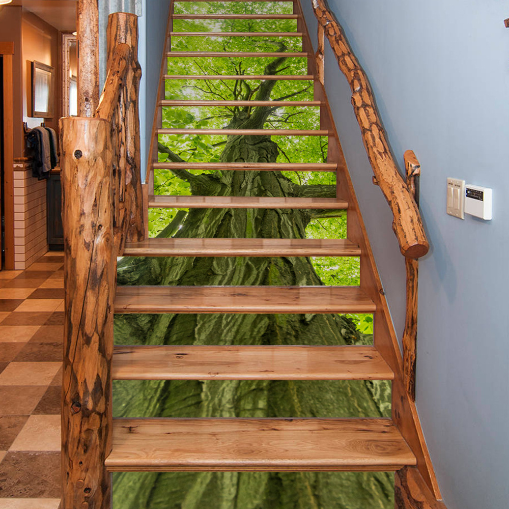 Creative 3D Tropical Palm Leaves DIY Stair Stickers for Living Room Self Adhesive Mural Decor Art Decal Home Decoration 13Pc/set