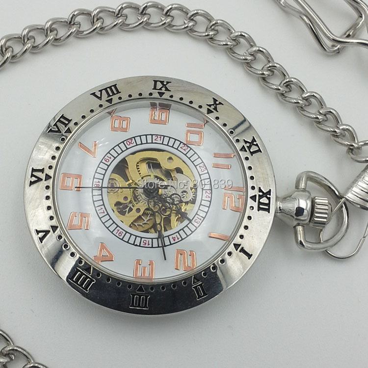 Unique Style Wind Up Mechanical White Dial Men's Pocket Watch W/chain Nice Gift Wholesale Price H141
