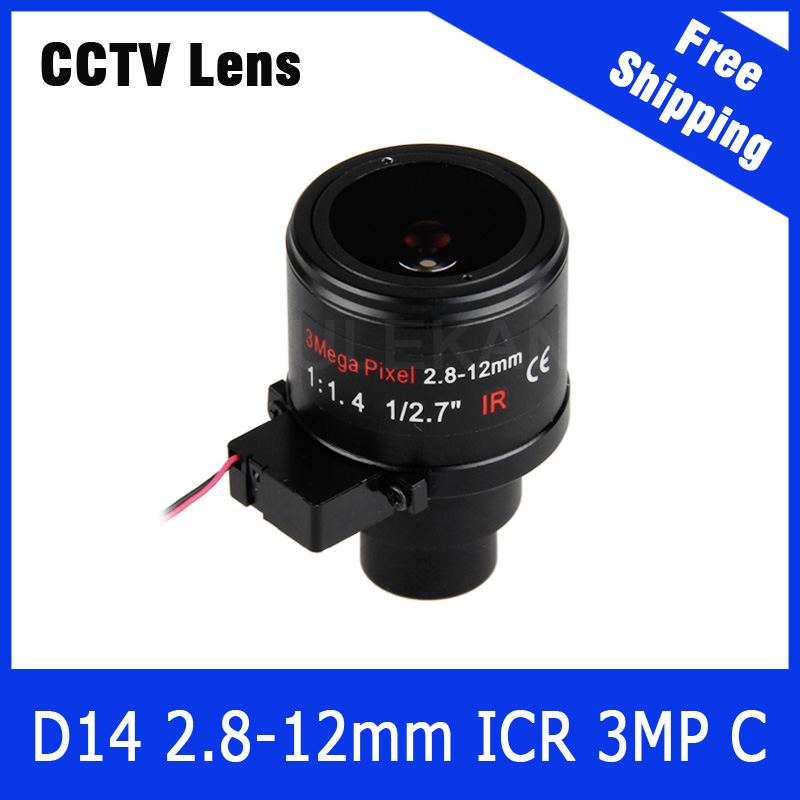 3Megapixel 1/2.7 inch Varifocal Lens 2.8mm-12mm D14 Mount with IRCUT For 720P/1080P/3MP IP/AHD/CVI/TVI CCTV Camera Free Shipping 3megapixel fixed m12 cctv lens 1 2 5 inch 3 6mm for ov2710 ar0230 720p 1080p ip camera or ahd cvi tvi cctv camera free shipping