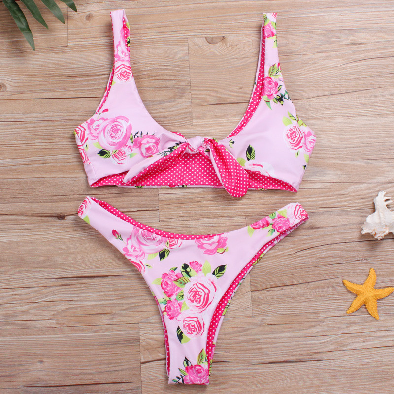 Brazilian Bikni Women Floral Swimwear Cross 2017 Swimsuit Sexy Biquini Female Pink Swim Wear Push Up Bathing Suit Hot Beachwear