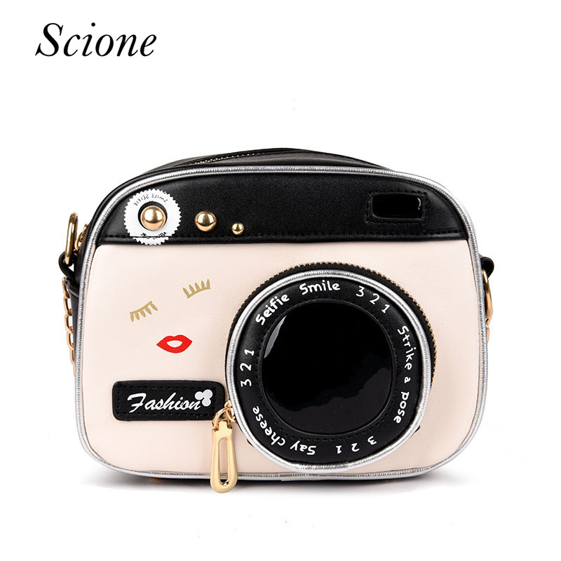 New Funny Women Leather Shoulder Messenger Cross Body Bag Camera Shaped Lip Handbag Shopping Tote Bolsa Mujer Small Flap