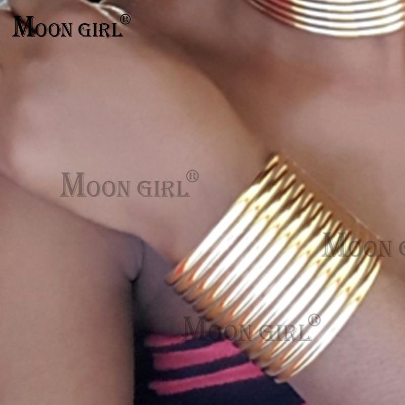 MOON Women Bracelets Party Nightclub Jewelry Leather Wrap Bracelet Bangles Vintage Maxi Jewelry