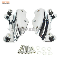 1 pair 4 FOUR POINT Chrome Motorcycle Docking Hardware Kit case for Harley Road King FLHR Road Glide 2009 2010 2011 2012 2013