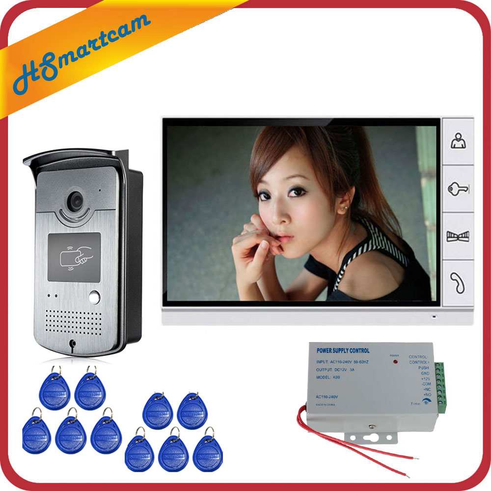 9 Inch LCD Monitor Speakerphone Intercom Color Video Door Phone Doorbell Access Control System Doorphone Free Shipping