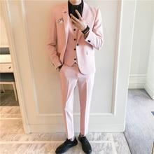 Slim Fit Hombre Trajes 3 unidades moderno abrigo pantalones diseños clásico sólido  Color rosa blanco esmoquin a3a3434f07b