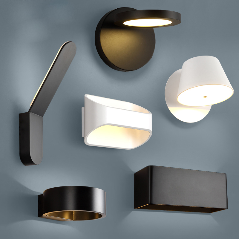 Modern Simple Geormetry LED Aluminum Pure White Black Project Aisle Lamp for Bedside Corridor Aisle Home Lighting DecorationModern Simple Geormetry LED Aluminum Pure White Black Project Aisle Lamp for Bedside Corridor Aisle Home Lighting Decoration