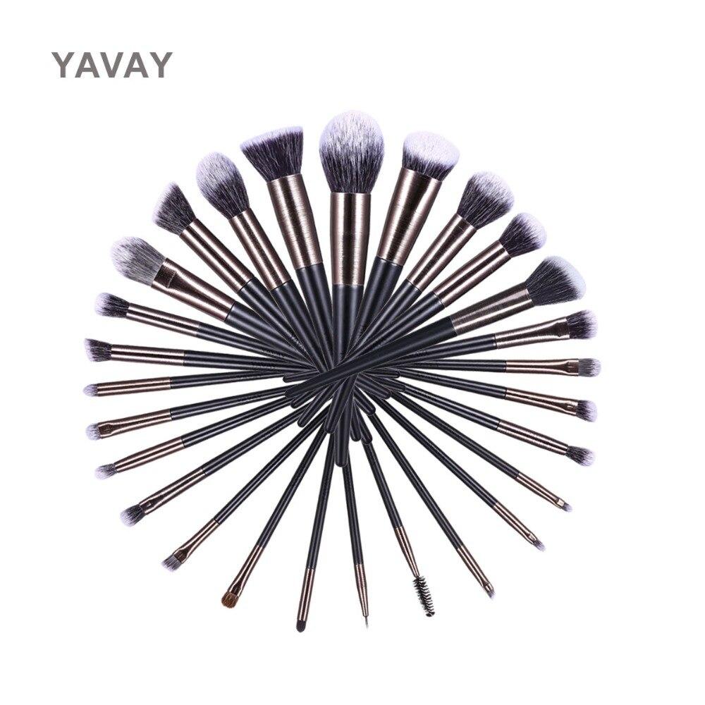 YAVAY marque 27 pièces/lots noir pinceaux de maquillage ensemble pour les femmes outil cosmétique Nylon brosses à cheveux manche en bois brosses professionnelles