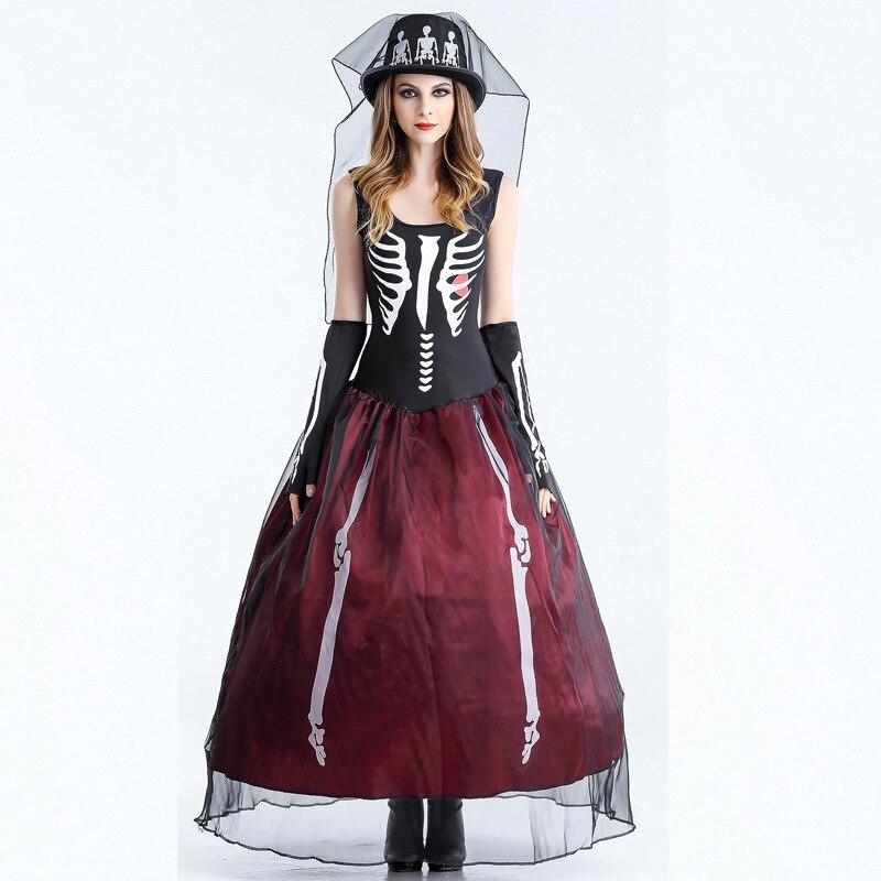 Sexy Skeleton Queen Costume Skeleton Bone Fancy Dress Adults Women ...