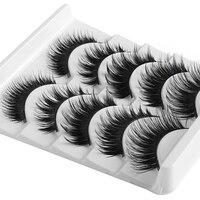 5 Styles Mixed Handmade Gorgeous Thick Mixed Soft Full Strip False Eyelashes Wispy Long Cross Eye Lashes Makeup Extension Tools False Eyelashes