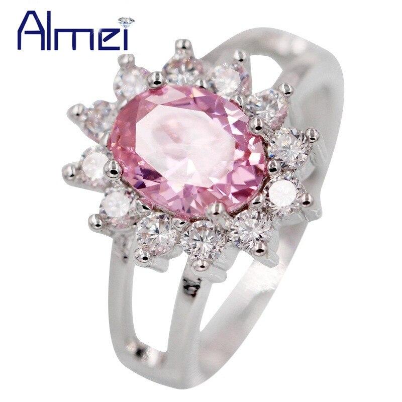 890eb31e041b Almei anillos de plata para las mujeres anillo Rosa CZ Zircon Anel Feminino  Bague joyería flor anillo Aneis Parure Bijoux Femme 2017 y050