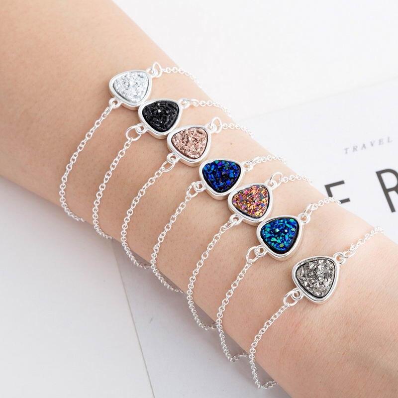 ZWPON 2018 New Silver Girls Geometric Triangle Drusy Druzy Bracelets for Women Christmas Jewelry Wholesale