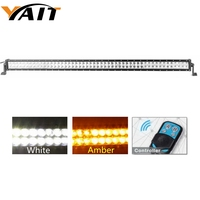 Yait 1pcs 52 Inch Double Row LED Light Bar Combo Led Bar 300w Amber White Driving Lights Led for Trucks w/ remote control