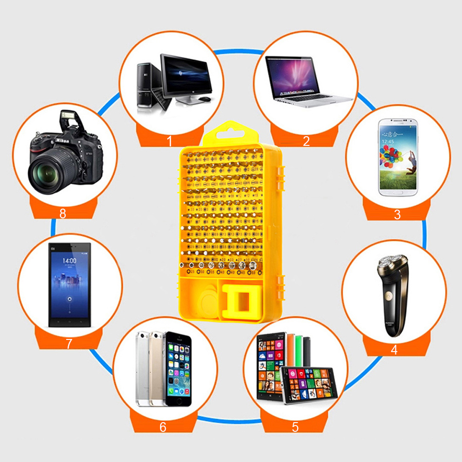 Купить с кэшбэком Screwdriver Set 108 in 1 Sets Multi-function Computer PC Mobile Phone Cellphone Digital Electronic Device Repair Home Tools Bit