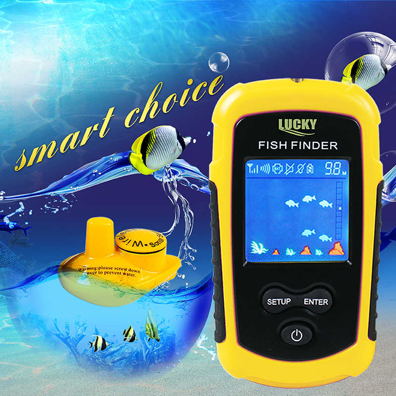 Sonar Wireless Fish Finder Manico Lungo Trasduttore FindFish Sonar Fish Finder con Display A Colori di Pesca Finder Riva Sonda