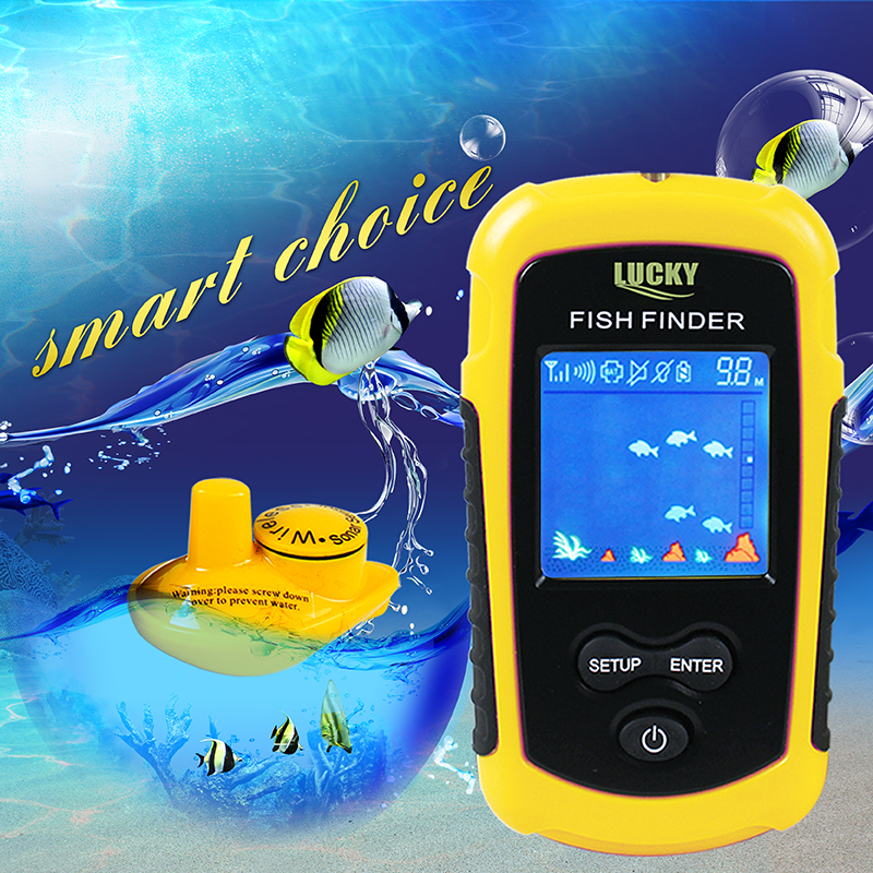 Wireless Sonar Fish Finder Handled Transducer FindFish Sonar Sounder Fish Finder with Color Display Fishing Finder Shore Probe|Fish Finders| |  - title=