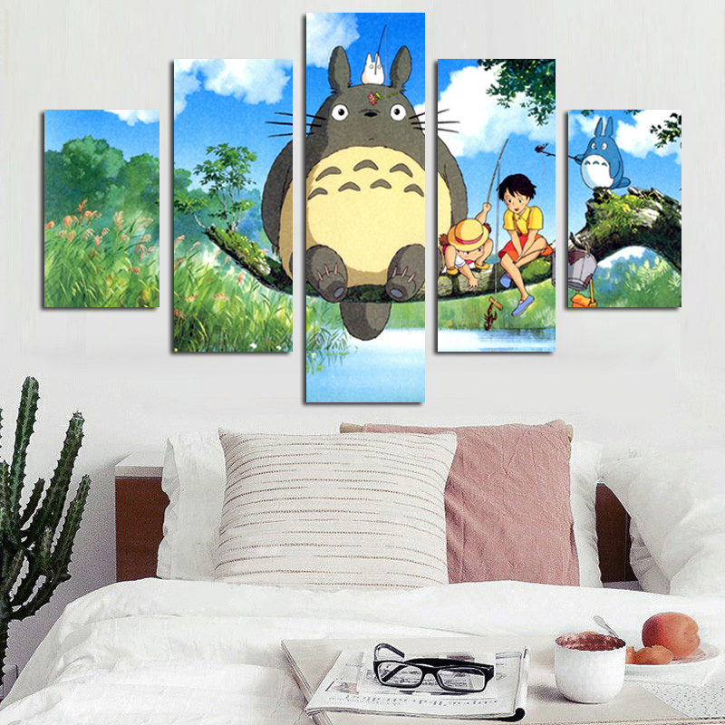 5 Panel Modern Miyazaki Hayao Totoro Art Hd Print Modular Wall Painting Poster Picture For Kids Room Cartoon Wall Cuadros Decor