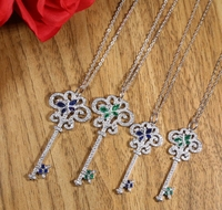 New Arrivals 925 Silver Necklace Woman AAAA Quality Zircon Key Pendant Necklace Fashion Charm Silver Necklace