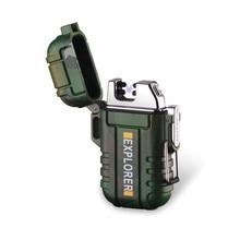 Neue USB Plasma Dual Arc Outdoor Camping Leichter Wiederaufladbare Wasserdichte Elektronische Leichter Puls Kreuz Donner Ligthers