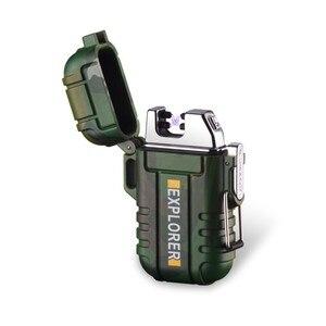 Image 1 - Nowy USB w osoczu podwójny łuk na zewnątrz Camping lżejszy akumulator wodoodporny elektroniczny zapalniczki Pulse krzyż Thunder zapalniczki