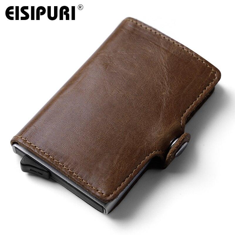 EISIPURI Men Prevents RFID information leakage Genuine leather mini wallet safe Multifunction Aluminum Automatic Pop Up Card