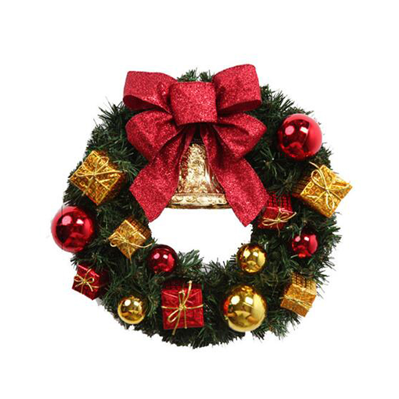 Good Christmas Decoration Stores #1: Plastic-Christmas-Wreath-Hanging-Door-Ornament-Christmas-Decorations-Hanging-Flower-with-Small-Bell-for-Door-Window.jpg