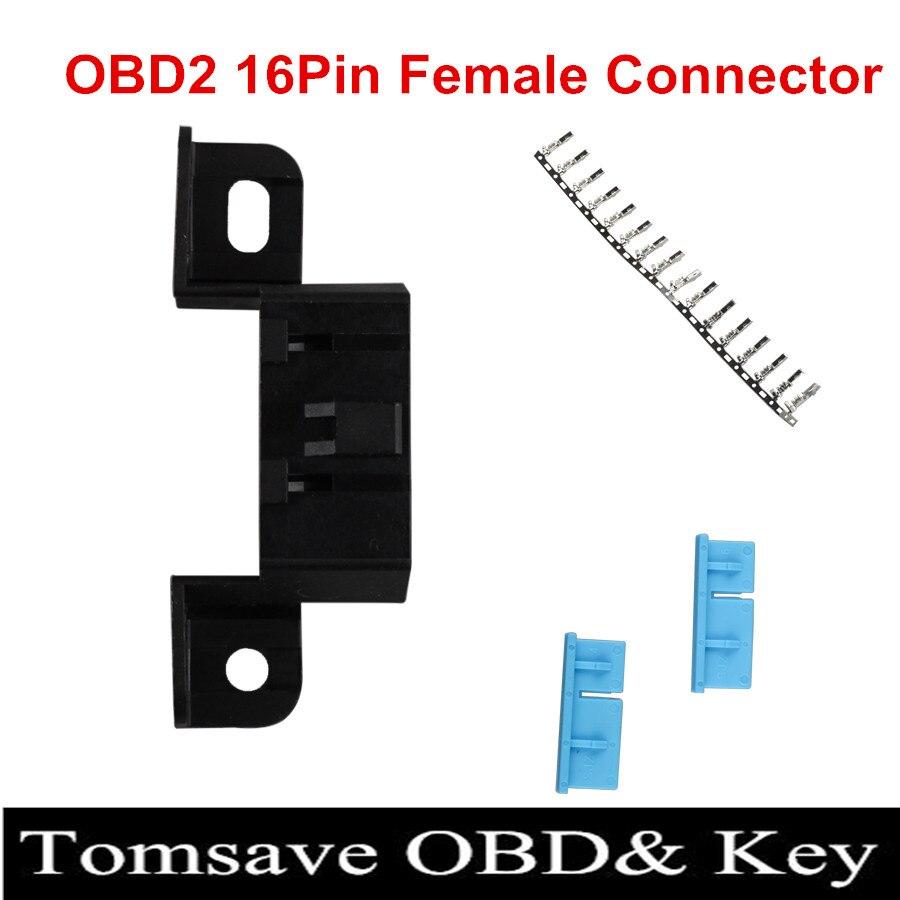 Prix pour Livraison Gratuite 10 pcs/lot 16pin obd2 Connecteur OBD2 OBD 2 16Pin Femelle Angle Connecteur OBD Femelle Prises De Fil Connecteur