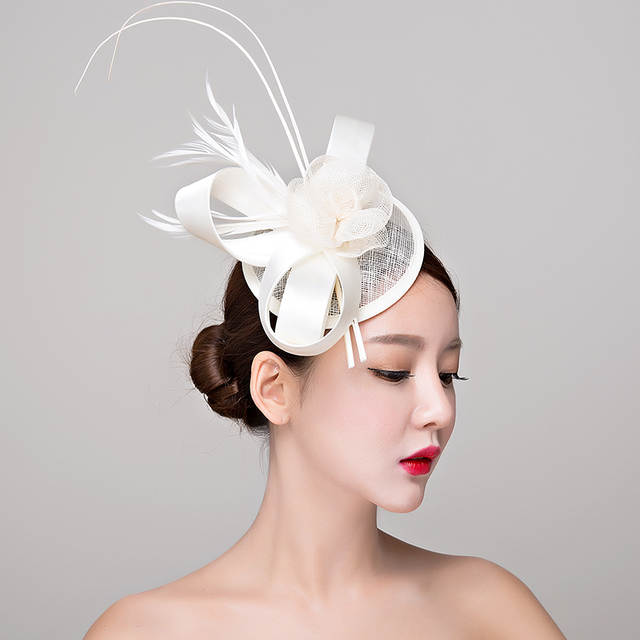 placeholder Red white black Sinamay hats royal fascinators wedding races  cocktail fascinator women linen feather 2e333fff5ff0