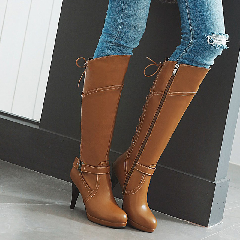 SARAIRIS 2018 Wholesale Plus Size 31-48 Customized Boots Women Woman Shoes High Heels Knee High Boots Shoes Women