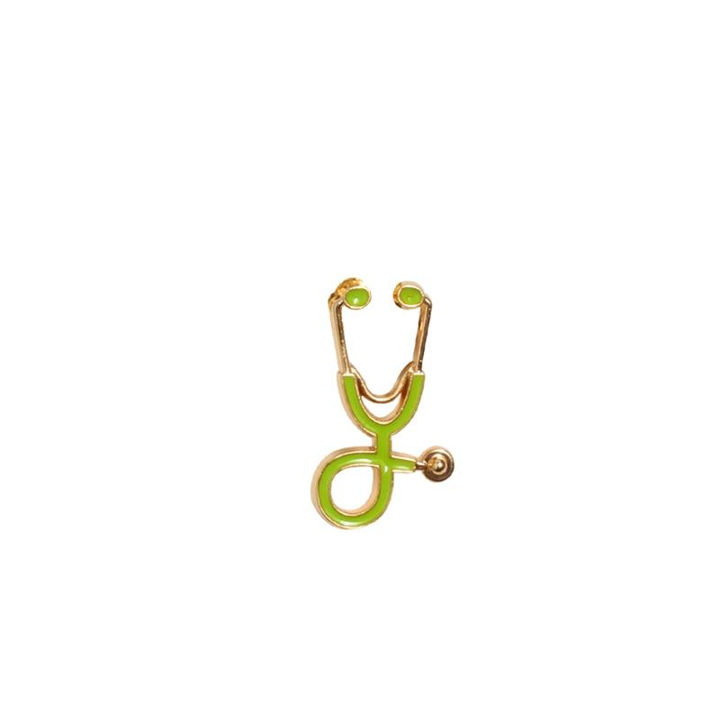 Креативные разноцветные броши, 18 стилей, стетоскоп доктора медсестры, эмалированные булавки, медицинские джинсовые куртки, сумки, ювелирные изделия, значки, подарки - Окраска металла: gold green