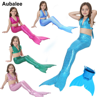 Zeemeerminstaart Met Monofin Voor Kids Swimwear Girls Mermaid Tails Costume Children Swimmable Monofin Swimming Set Swimsuit