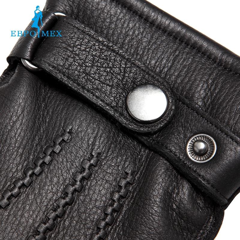 Guantes de cuero genuino de lujo guantes de cuero de moda para hombre, guantes de invierno populares para hombre, guantes de hombre, diseño negro a presión - 5