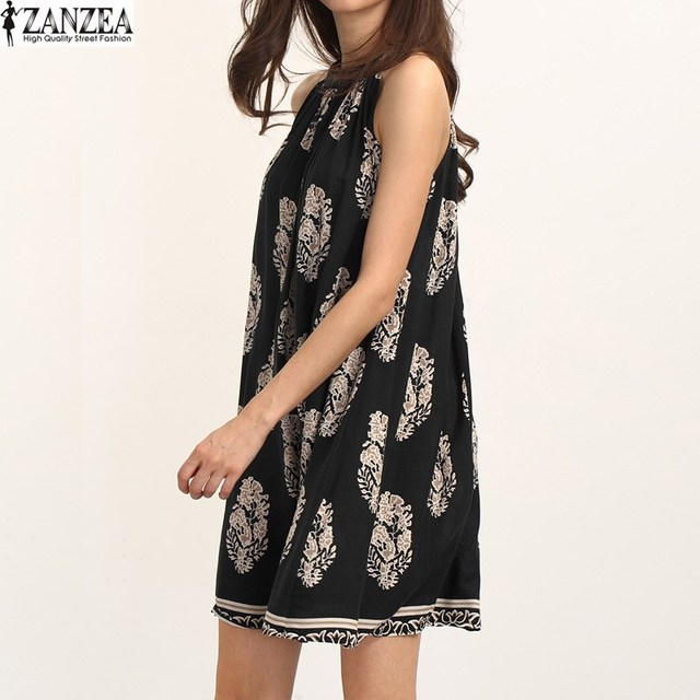 2017 Vestido ZANZEA Women Floral Printed Sleeveless Casual Loose Sundress Summer Ladies Boho Beach Party Shift Mini Dress