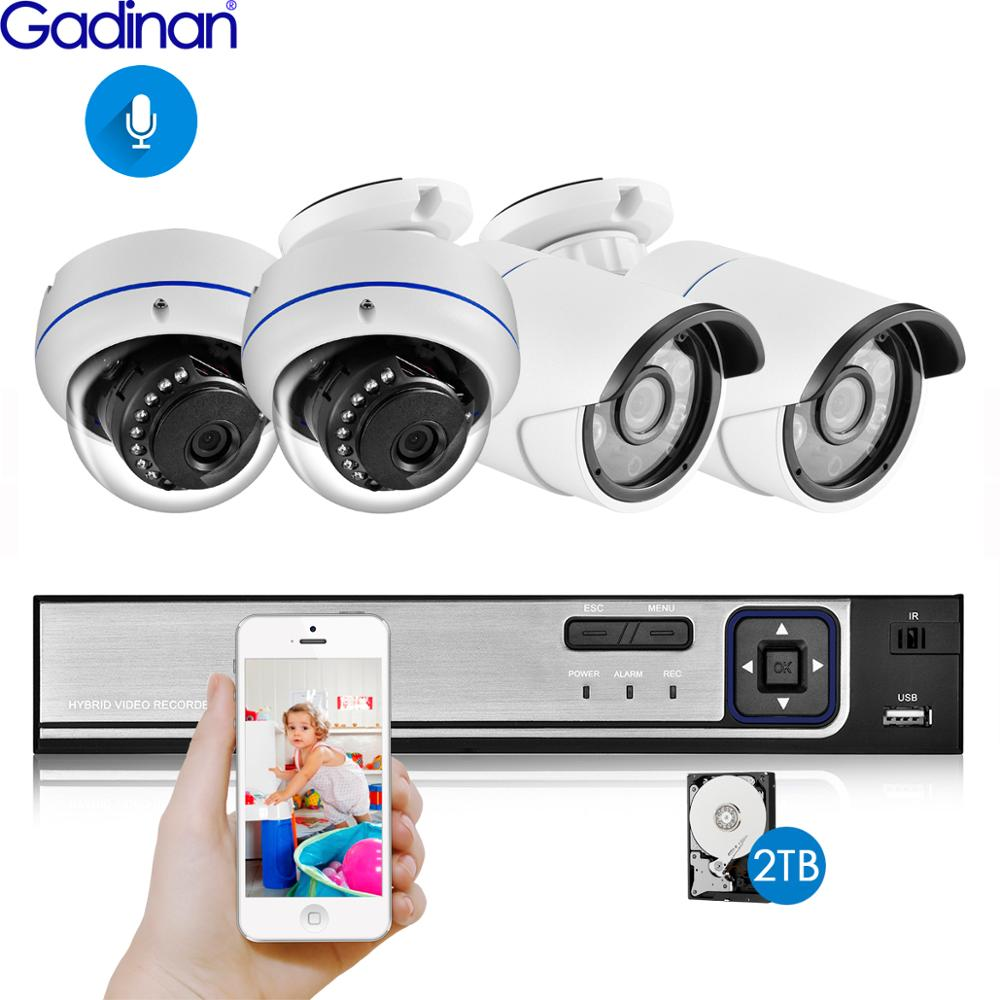 Gadinan 4CH 5MP POE NVR Kit Sicherheit Kamera System 5,0 MP IR Indoor Outdoor CCTV Dome POE IP Kamera P2P video Überwachung Set