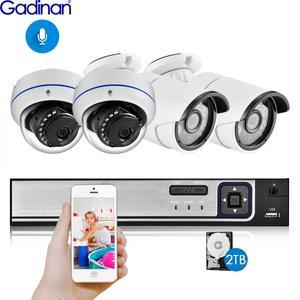 Image 1 - Gadinan 4CH 5MP poe nvr キットセキュリティカメラシステム 5.0MP ir 屋内屋外 cctv ドーム poe ip カメラ P2P ビデオ監視セット
