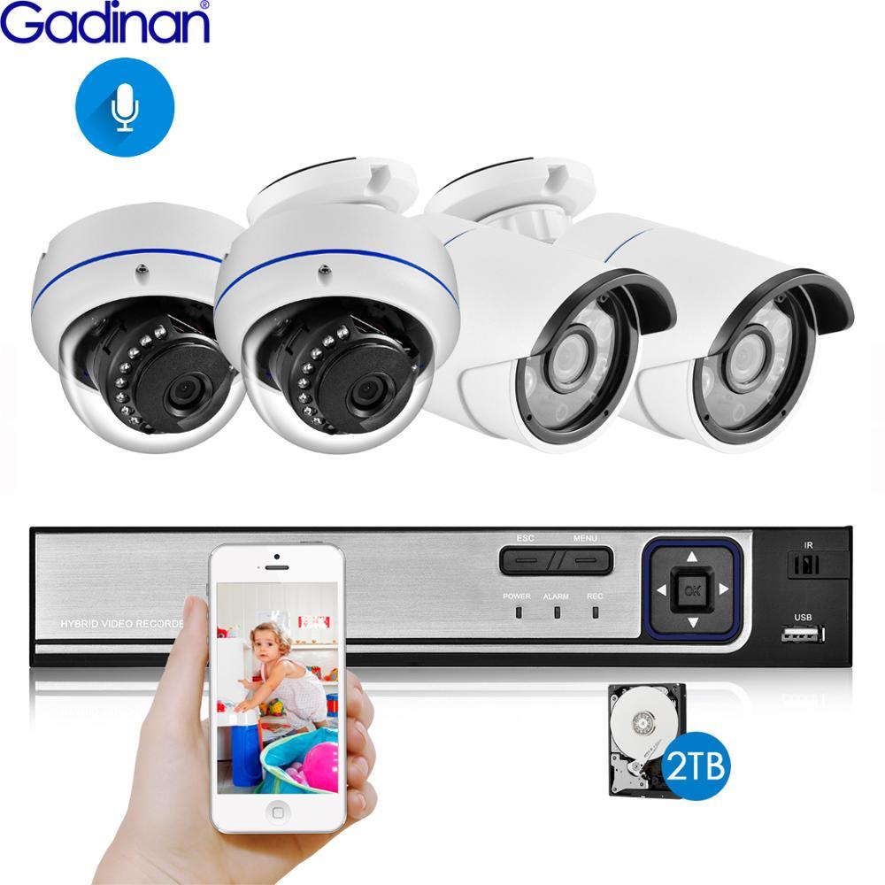 Gadinan 4CH 5MP POE NVR Kit système de caméra de sécurité 5.0MP IR intérieur extérieur CCTV dôme POE IP caméra P2P ensemble de Surveillance vidéo