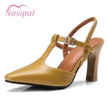 19529d6e5 Nasipal Sapatos Da Marca Mulher Tamanho Grande 32-46 Sandálias Feminino  Mujer Preto Bege T