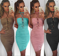 Sexy Women Bandage Dress Halter Neck Sleeveless Cross Front Straps Hollow Out Party Club Night Club