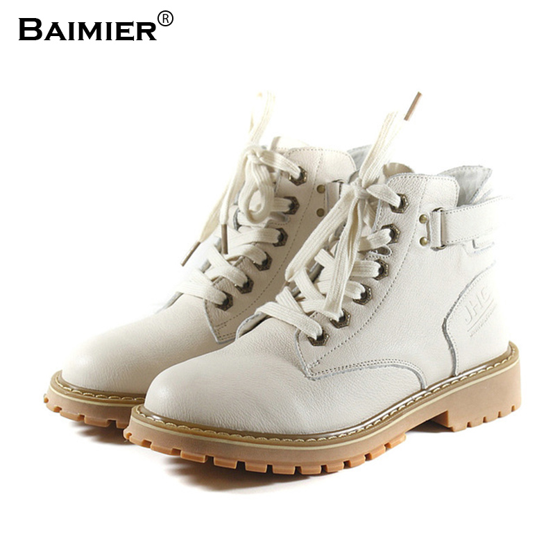 New Flats Platform Women Ankle Boots High Quality Genuine Leather Shoes Buckle Martin Boots Winter Autumn Handmade Boots White elegant handmade women boots flower high quality women shoes autumn and winter genuine leather thick heels platform ankle boots