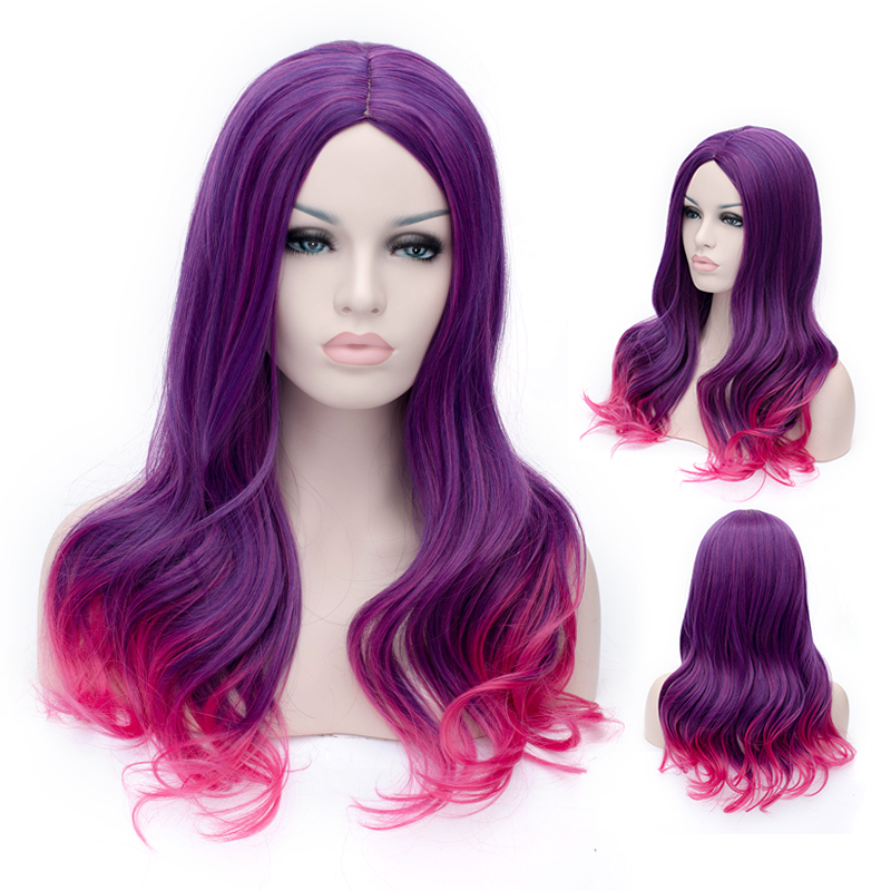 New Movie Guardians of the Galaxy Gamora Wig Synthetic Long Wavy Gradient Purple mixed Pink Anime Cosplay Wig Free Shipping k19 16inch wavy purple gradient light