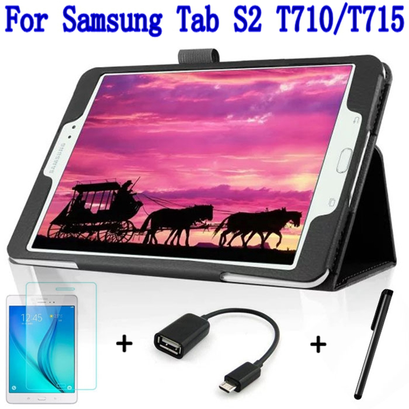 4 in 1 Fashion Top Quality Smart PU Leather Cover for Samsung Galaxy Tab S2 8.0 T710 T715 Tablet Case+ Screen Protector+OTG+ Pen