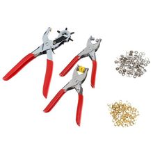 128 Pcs/Set Leather Hole Punch Repair Tool Eyelets Grommets + Pliers Kit New(Red+Silver)
