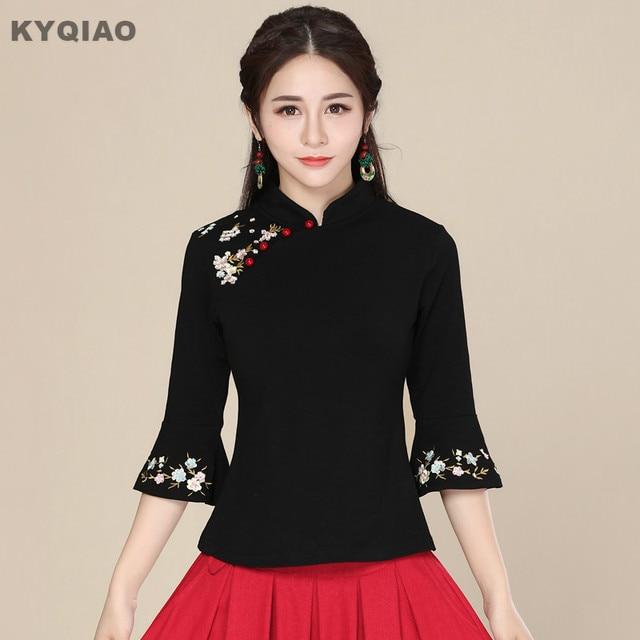 21237aba800 KYQIAO Traditional Chinese clothing 2019 Plus size women clothing female  autumn mandarin collar black embroidery blouse blusa