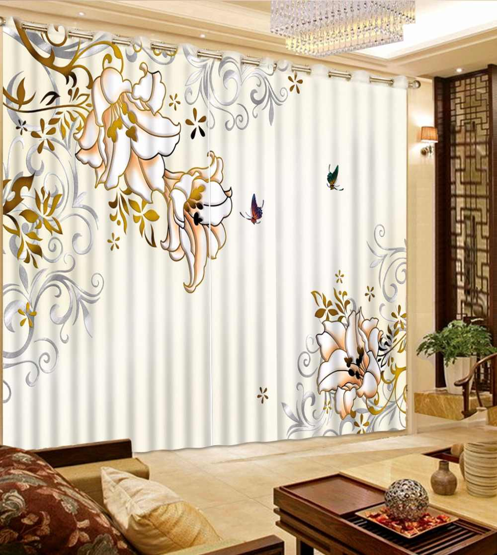 Photo Customize Drapes Blackout 3D Curtains brief flower Curtains For Living Room Hooks Polyester/Cotton Curtain