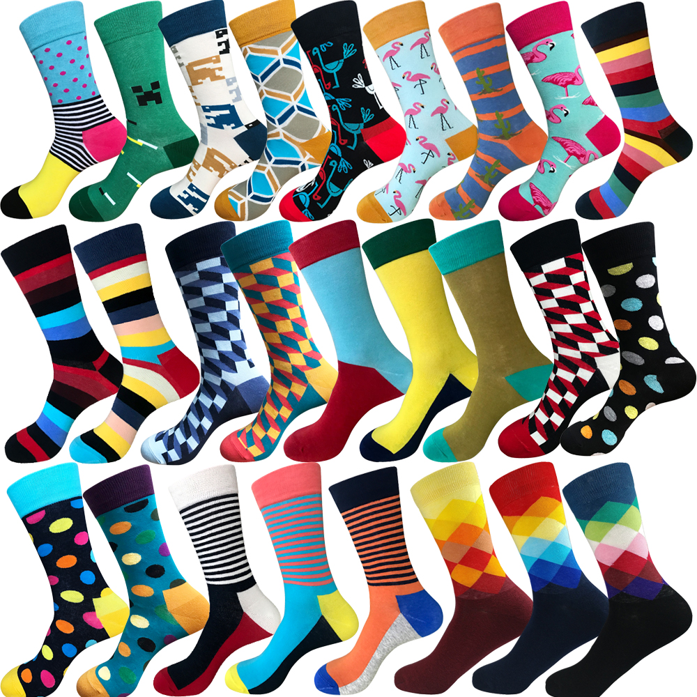 KELV 1 Pair Multiple Colors Brand Cycling Sport Socks Feet Breathable Wicking Socks Cycling Socks Striped Tide Middle Tube Socks