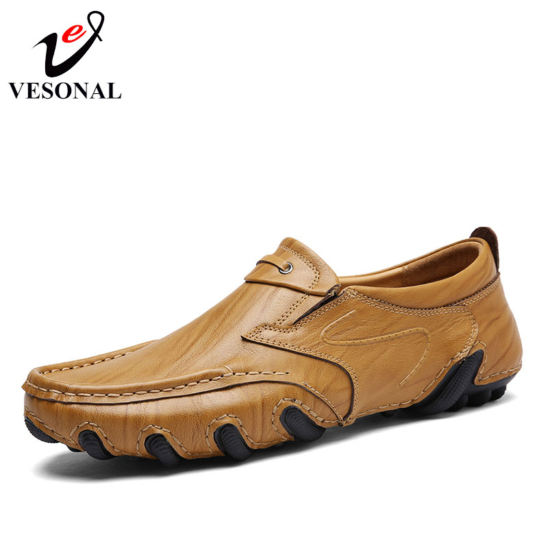 VESONAL Summer Genuine Leather Fashion Casual Shoes Men Loafers Octopus Male Footwear Classic Slip On Sneakers Sewing Driving