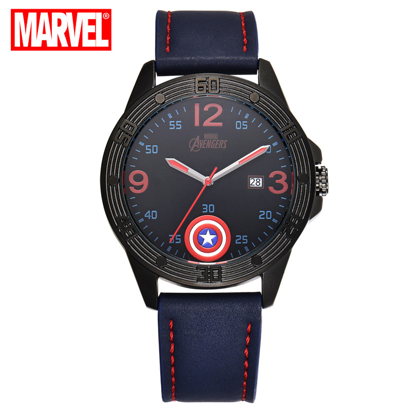 Disney Fashion student watch men iron man captain America The avengers alliance leisure men's cool men quartz watch 100% Genuine 100% genuine disney fashion children watches for boys students captain america iron man leather watch strap luxury brand design