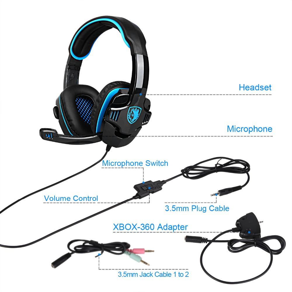 SADES SA 708GT Gaming headphones Headset 3.5mm Jack Stereo Computer Gamer  Earphones with Mic for Xbox 360 playstation 4 PC Phone-in Headphone/Headset  from ...