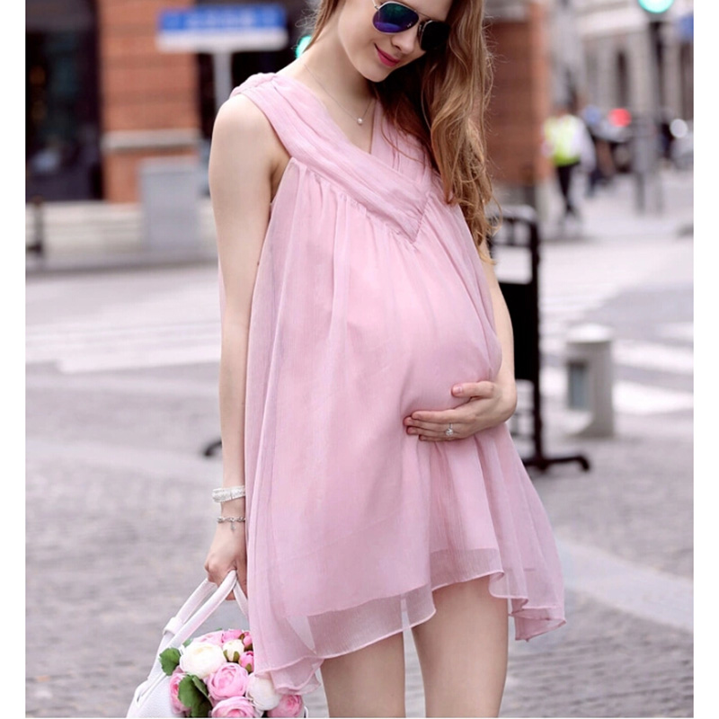 HI BlOOM 2017 New Pink Knee Length Maternity Loose Dress V-Neck Comfortable Clothes For  ...