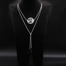 2020 Fashion Wicca Sun Moon Crystal Stainless Steel Necklaces Women Tassel Silver Color Long Necklace Jewelry bisuteria N19043